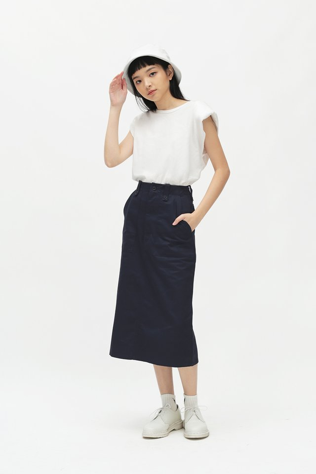 ADRIAN MIDI SKIRT IN NAVY
