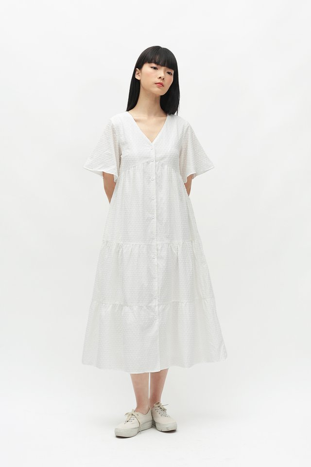 ANGELICA FLARE SLEEVE DRESS IN WHITE
