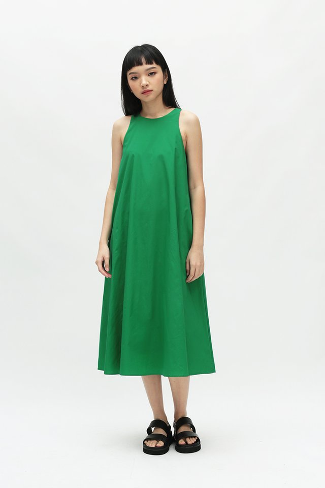 ANNALISE MIDI DRESS IN KELLY GREEN
