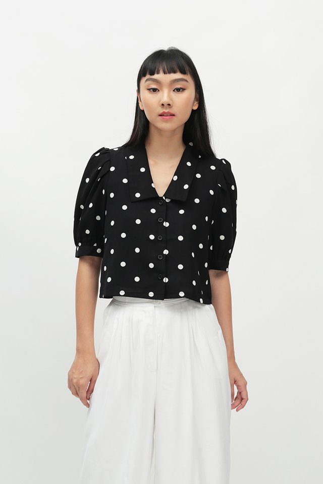 DOROTHY POLKADOT PUFF SLEEVE BLOUSE IN BLACK