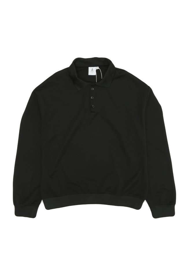 ELIO OVERSIZED LONG SLEEVE POLO IN BLACK