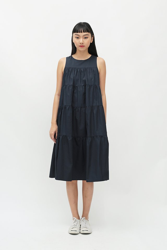 ETTA TIER DRESS IN NAVY