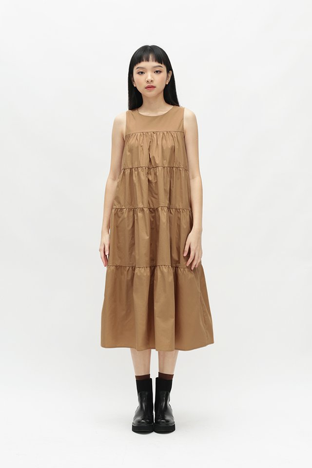 ETTA TIER DRESS IN SAND