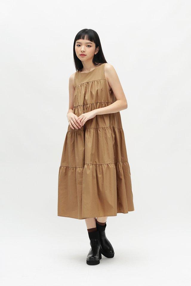 ETTA TIER DRESS IN SAND