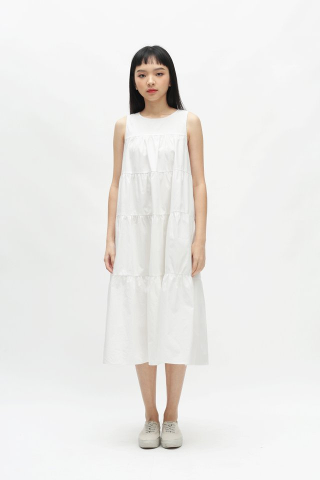 ETTA TIER DRESS IN WHITE