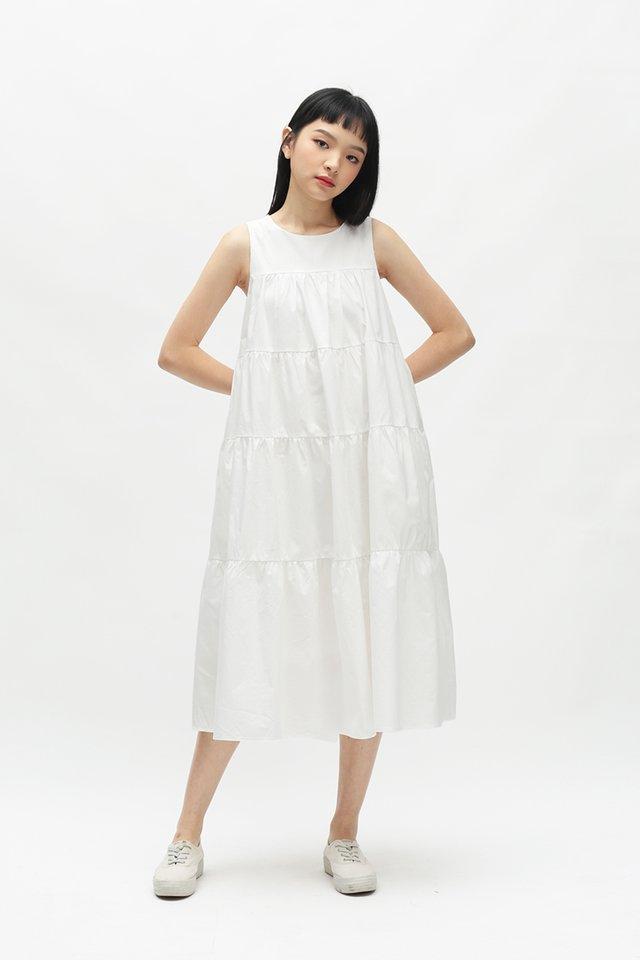 ETTA TIER DRESS IN WHITE