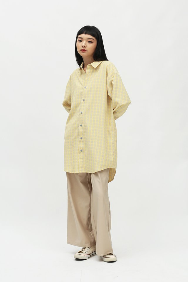 LAZY DAYS OVERSIZED SHIRT DRESS IN BUTTERCUP