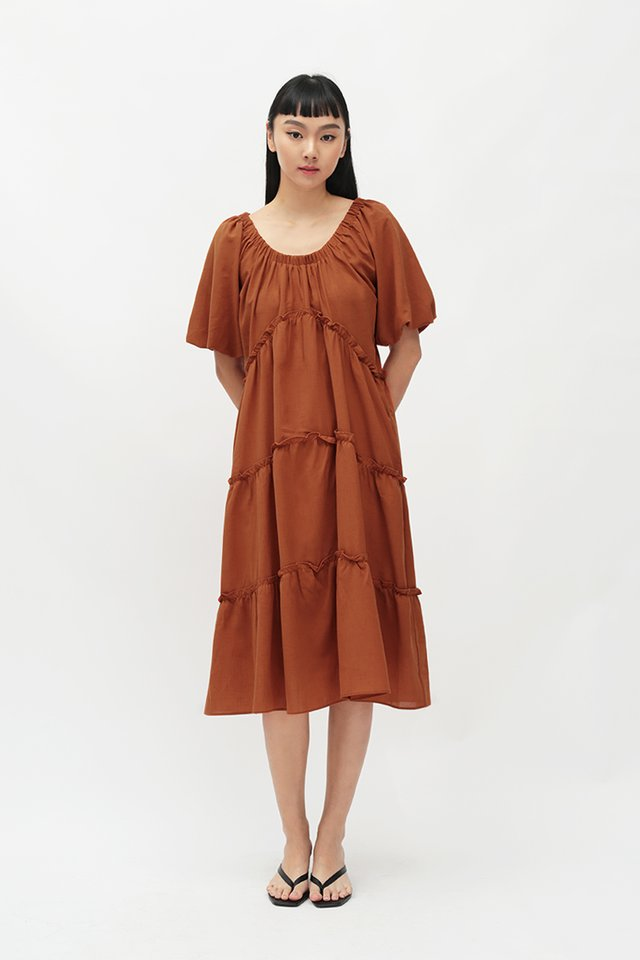 NOVA WIDE NECK DRESS IN AMBER