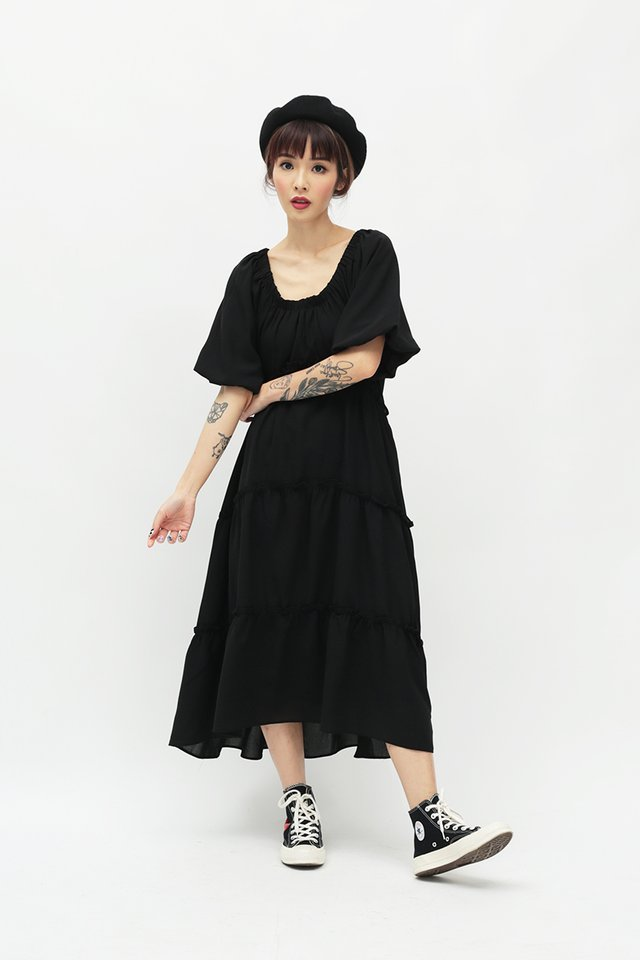NOVA WIDE NECK DRESS IN BLACK