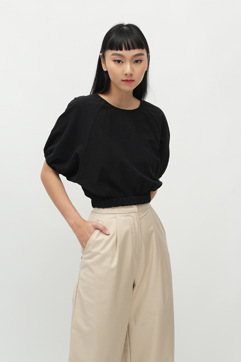 CLOUDY DAYS PUFF SLEEVE BLOUSE IN BLACK