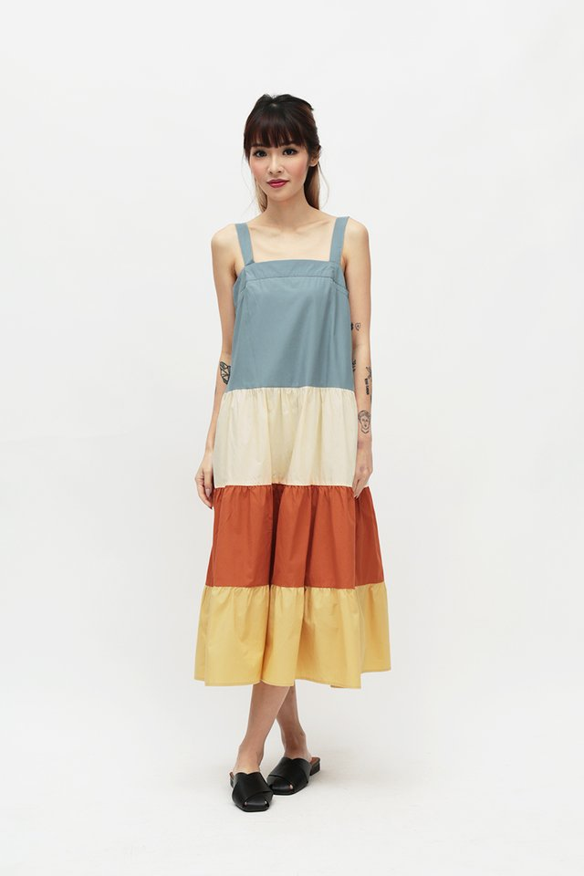 BRIGHTON COLOURBLOCK DRESS IN SUNSET