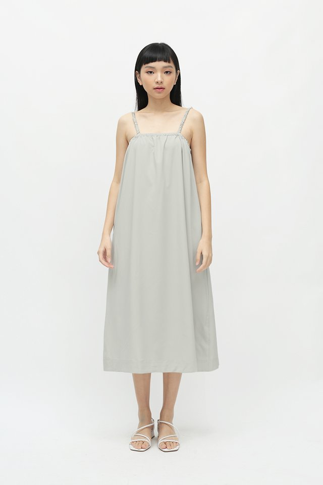 ENYA RUCHED STRAP DRESS IN CLOUD GREY