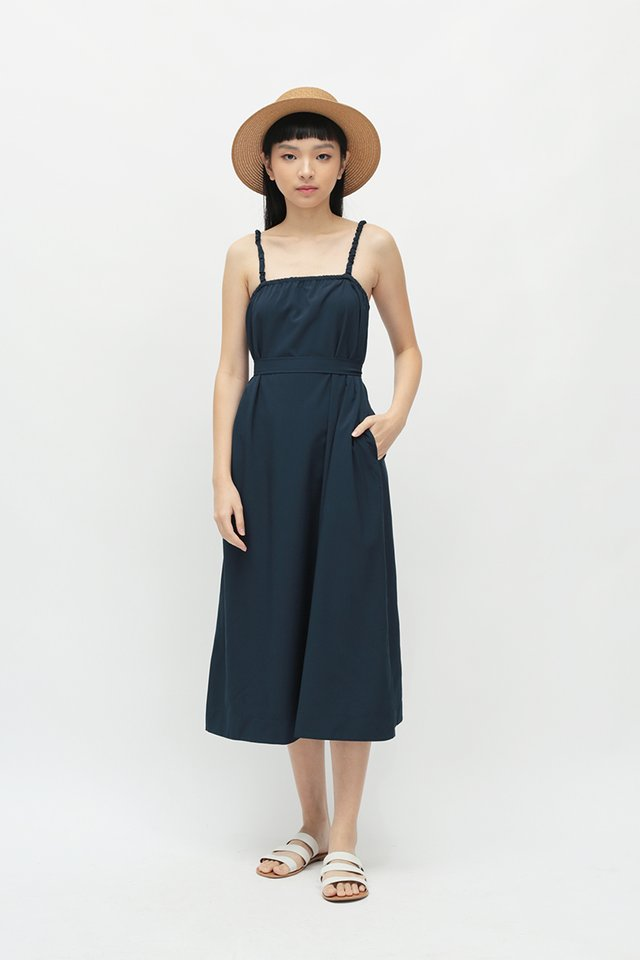 ENYA RUCHED STRAP DRESS IN NAVY