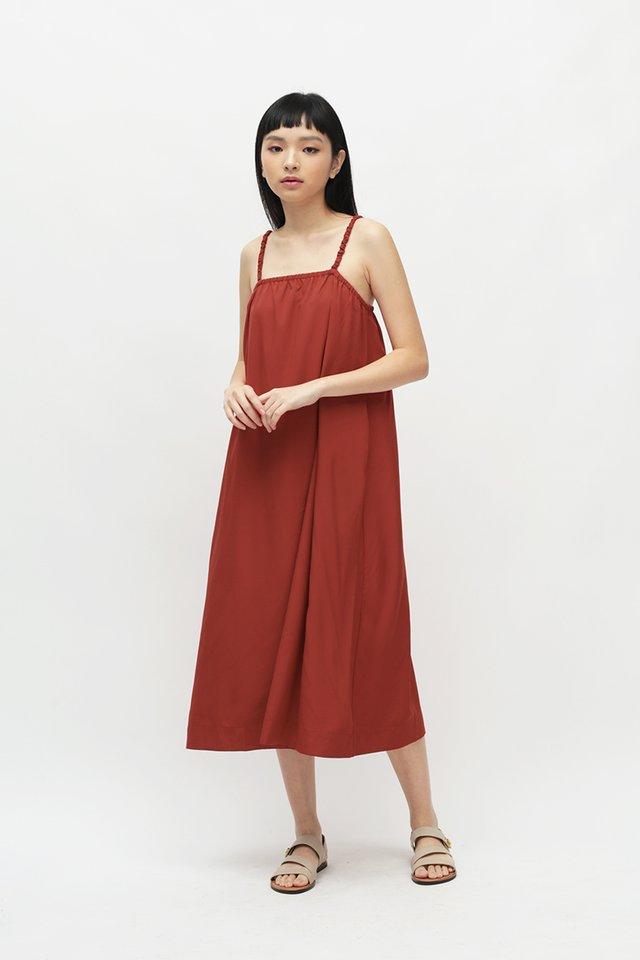 ENYA RUCHED STRAP DRESS IN SCARLET