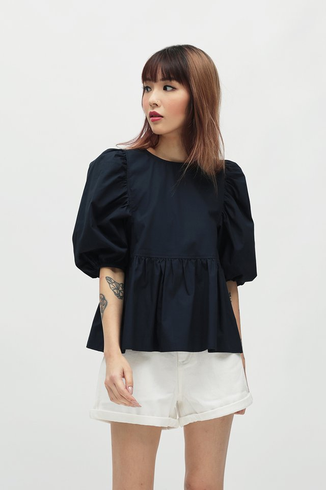 FREJA PUFF SLEEVE BLOUSE IN NAVY