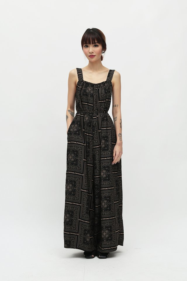 JANAE PAISLEY WIDE LEG JUMPSUIT IN BLACK