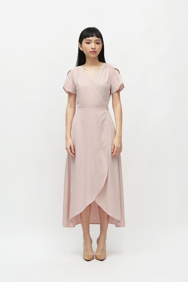 KATE OVERLAP WRAP DRESS IN FRENCH ROSE