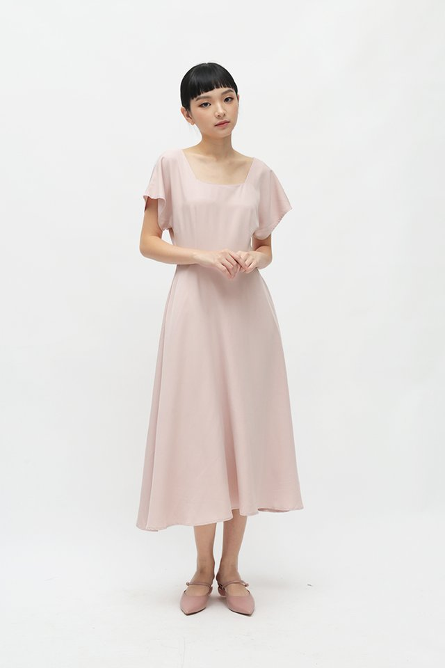LISBETH SQUARE NECK DRESS IN FRENCH ROSE