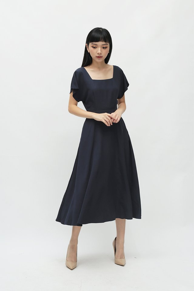LISBETH SQUARE NECK DRESS IN NAVY