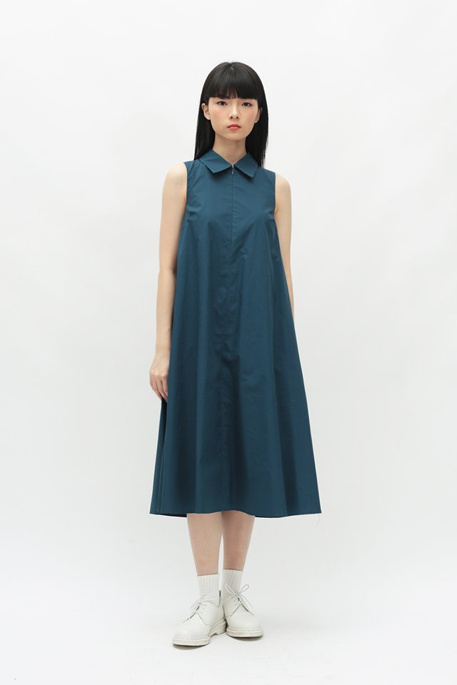 LYN MIDI SHIRT DRESS IN CERULEAN