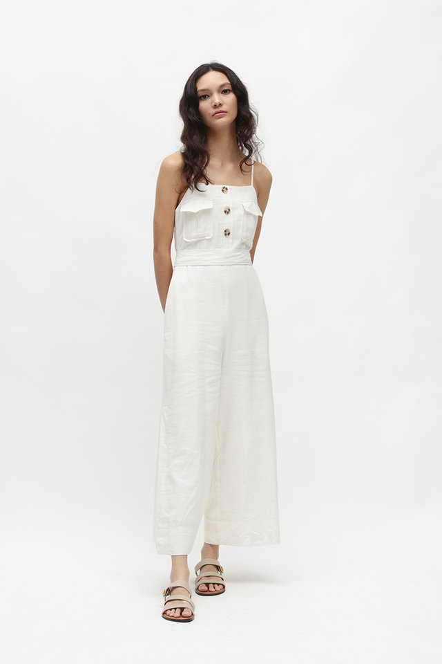SEYCHELLE POCKET JUMPSUIT IN WHITE