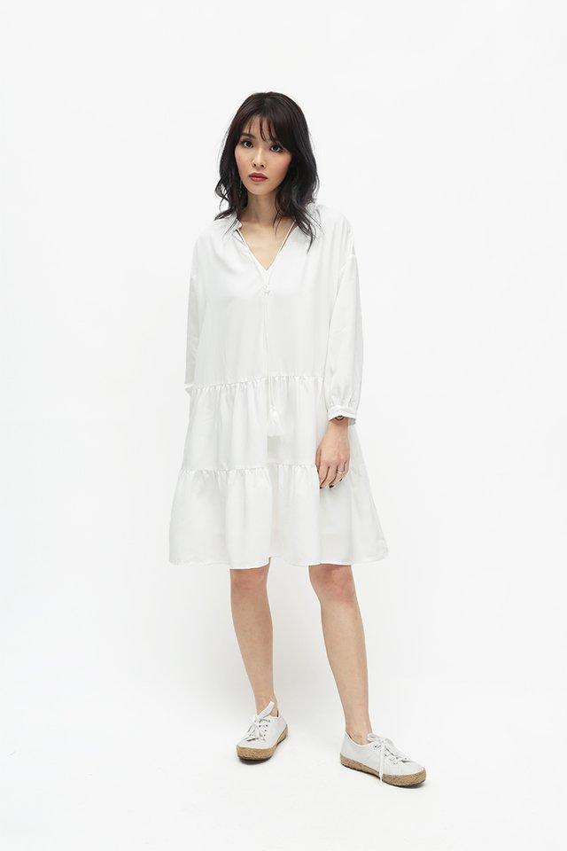 ANNIKA TASSEL DRESS IN WHITE