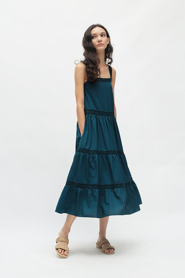 CASSIA LACE TRIM DRESS IN CERULEAN