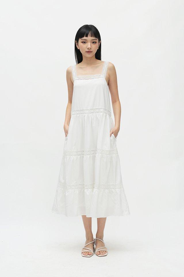 CASSIA LACE TRIM DRESS IN WHITE