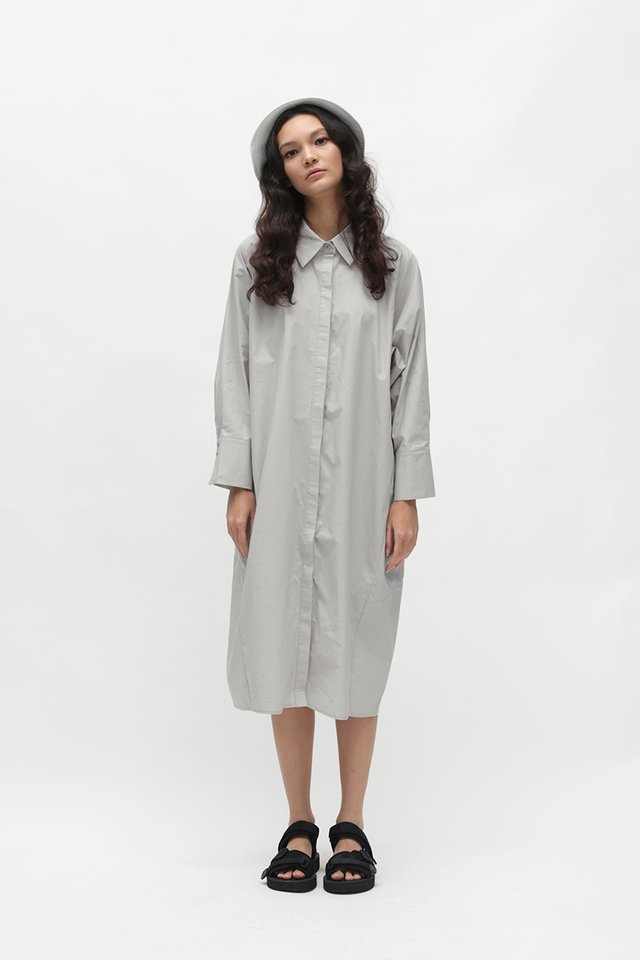 CITY GIRL OVERSIZED SHIRT DRESS IN CLOUD GREY
