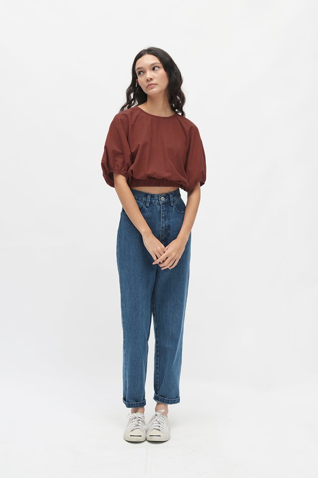 CLOUDY DAYS PUFF SLEEVE BLOUSE IN TERRACOTTA