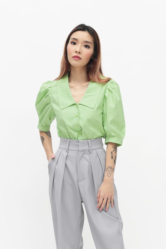 DOROTHY PUFF SLEEVE BLOUSE IN KEY LIME
