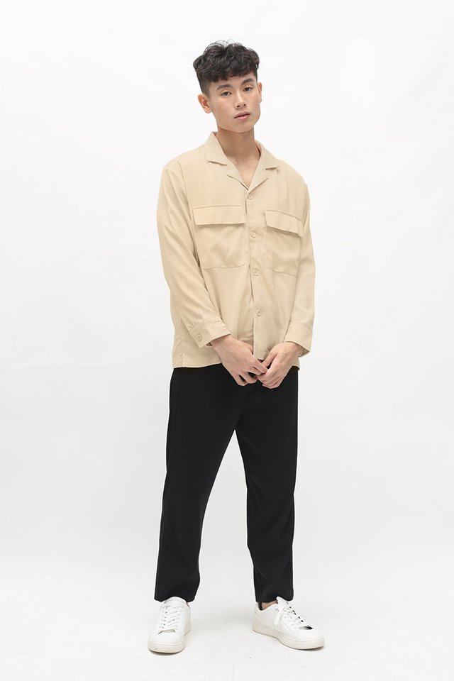 LOREN CAMP COLLAR POCKET SHIRT IN CREAM