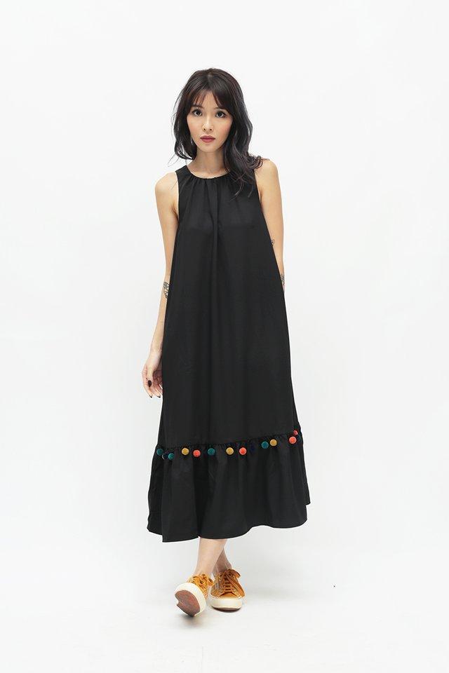 MARIKO POM POM DRESS IN BLACK