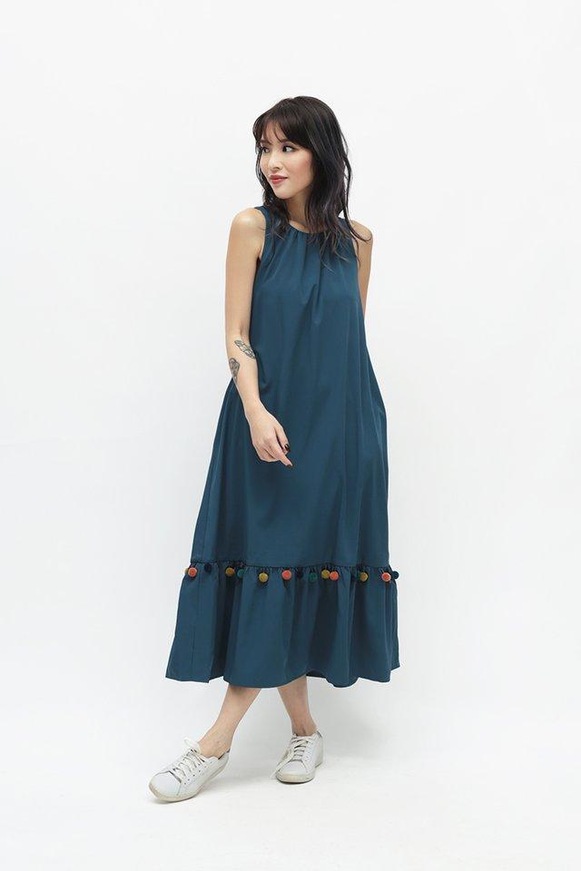 MARIKO POM POM DRESS IN PRUSSIAN BLUE