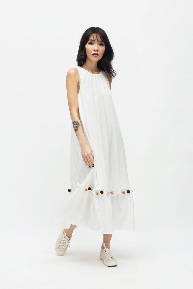 MARIKO POM POM DRESS IN WHITE