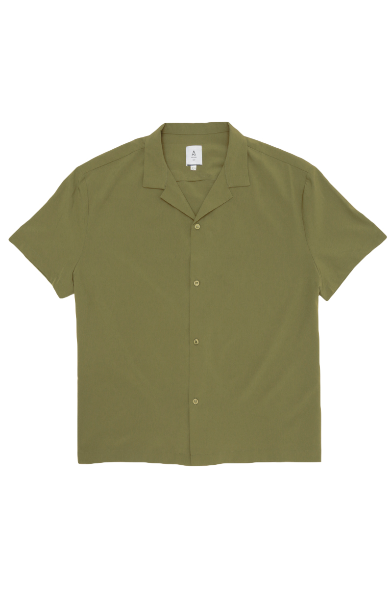 AIDEN CAMP COLLAR SHIRT IN OLIVE