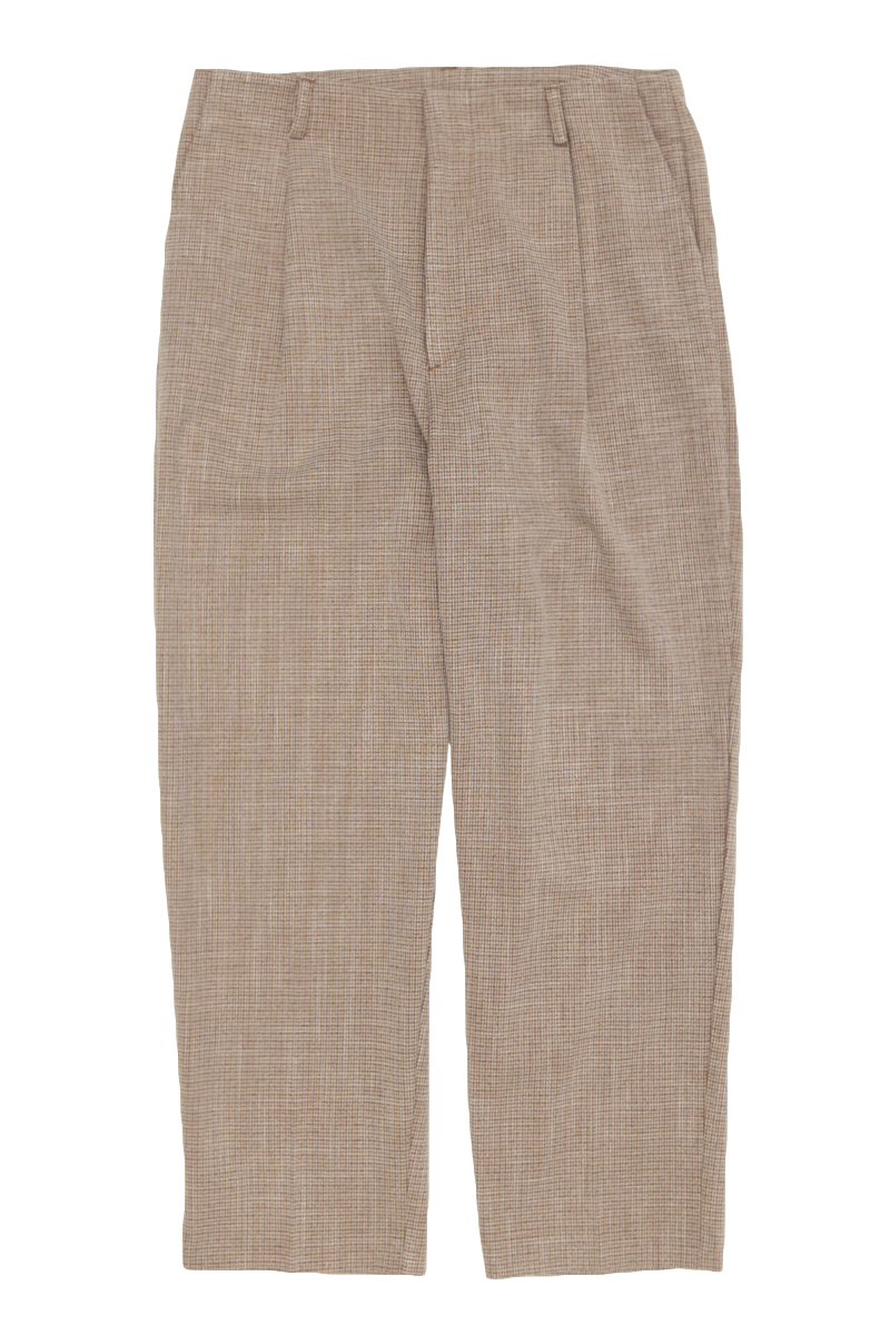 QUINCY CHECKED TAPERED TROUSERS IN COCOA