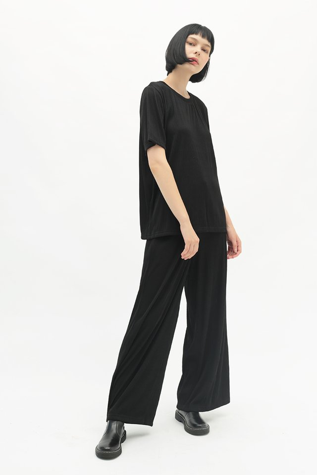 BETWEEN THE LINES RIBBED PANTS IN BLACK