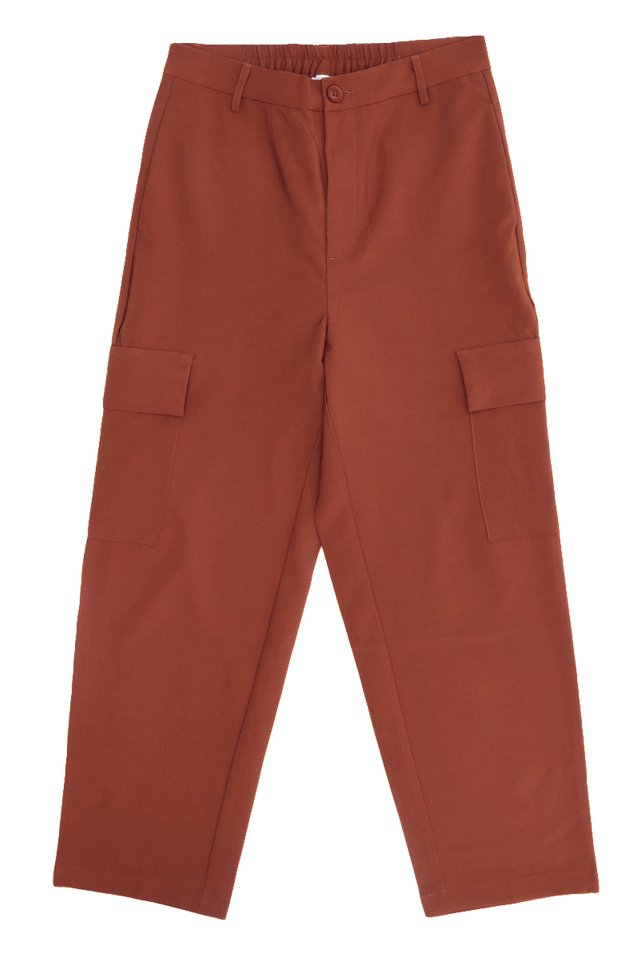 LARS STRAIGHT-FIT CARGO TROUSERS IN RUSSET