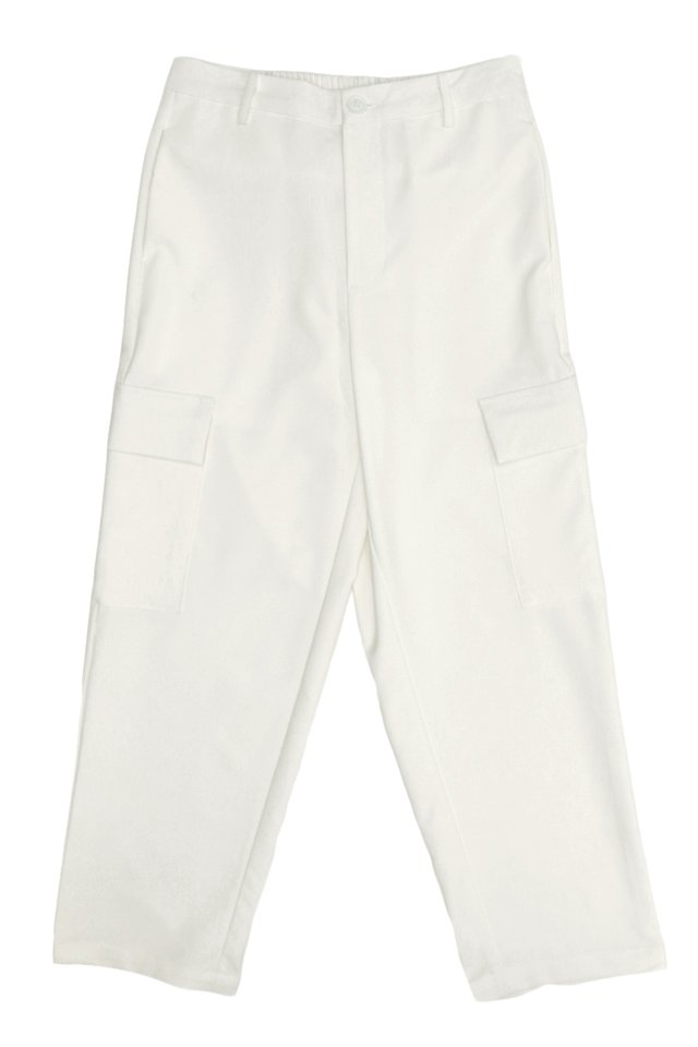 LARS STRAIGHT-FIT CARGO TROUSERS IN WHITE