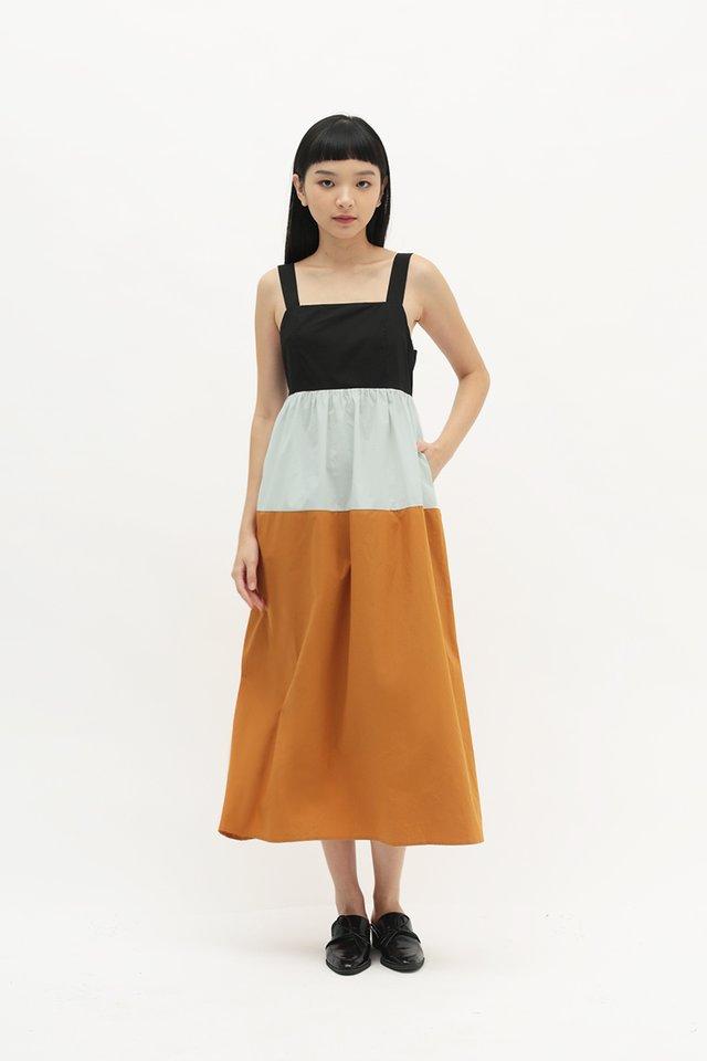 SIDNEY COLOURBLOCK DRESS IN CINNAMON