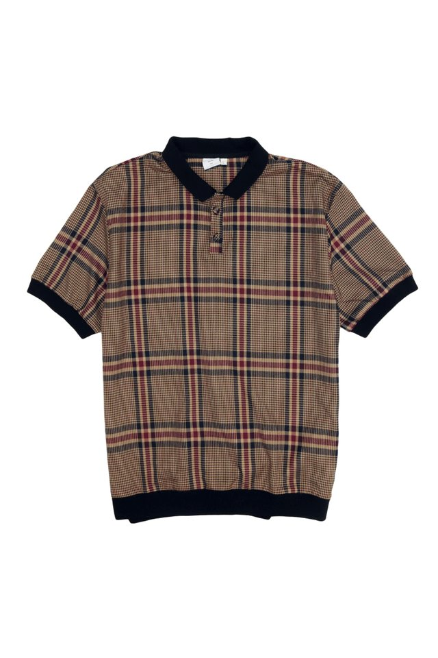 TEDDY CHECKED POLO SHIRT IN BROWN