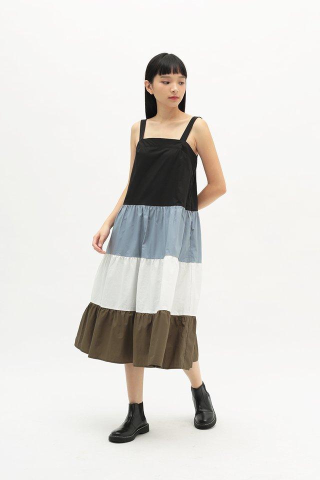 BRIGHTON COLOURBLOCK DRESS IN MISTY SKY