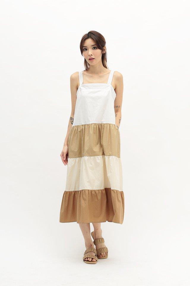 BRIGHTON COLOURBLOCK DRESS IN SAHARA