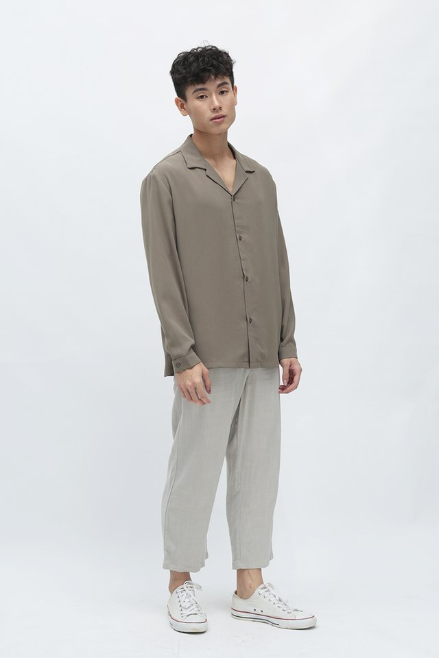 CAIRO DRAWSTRING LINEN TROUSERS IN GREY