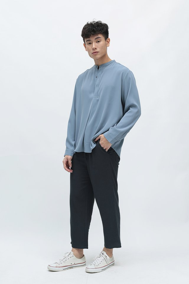 CAIRO DRAWSTRING LINEN TROUSERS IN NAVY