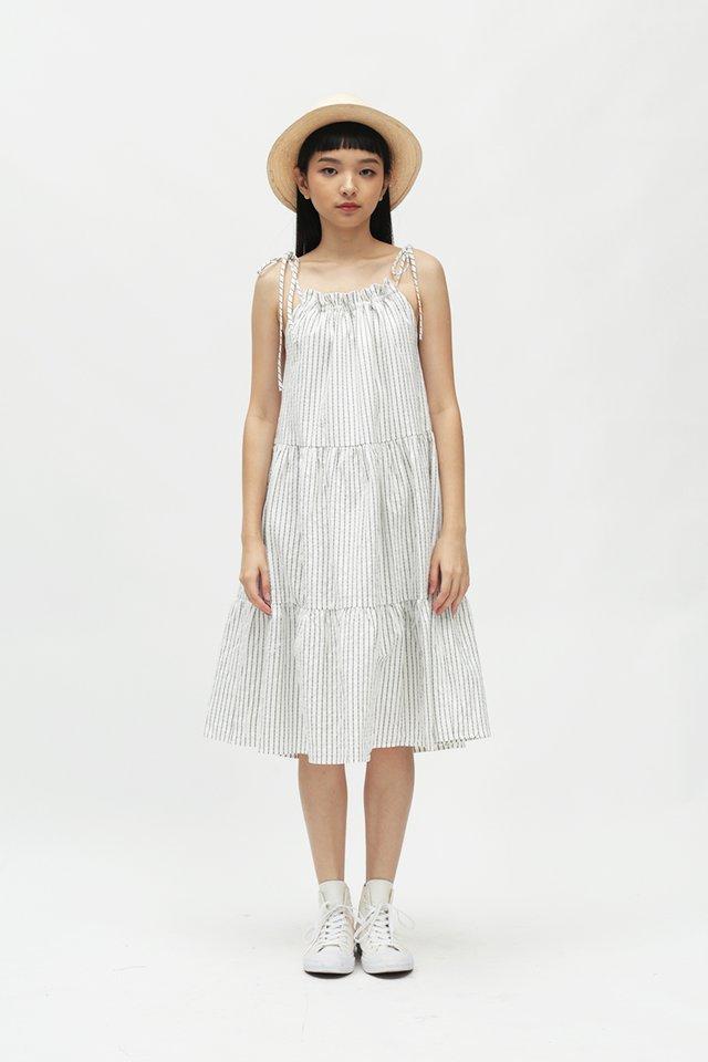 DARI STRIPED TIER DRESS IN WHITE