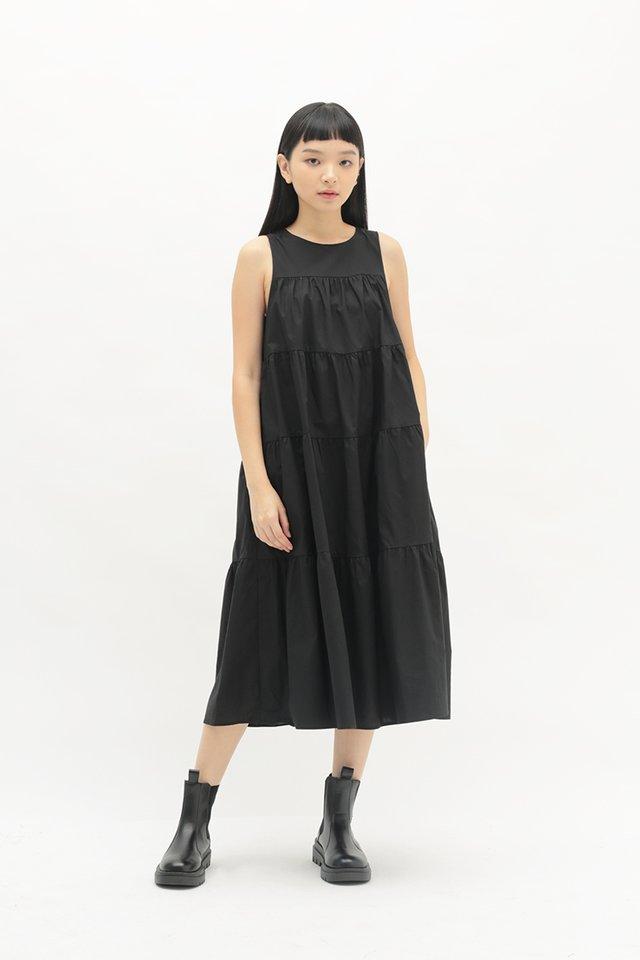 ETTA TIER DRESS IN BLACK