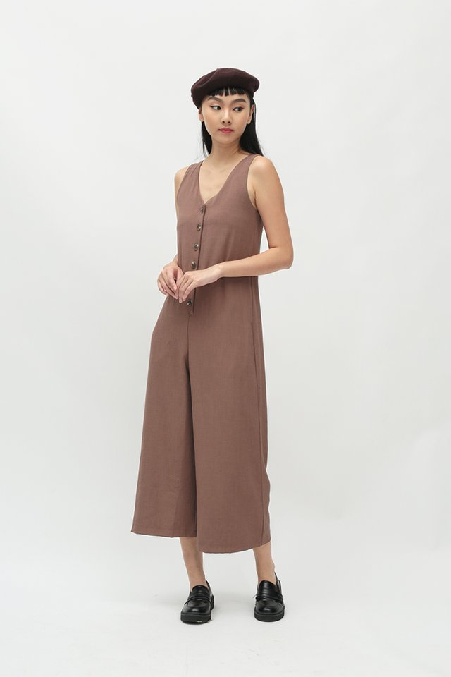 KAILANI BUTTON JUMPSUIT IN CHESTNUT