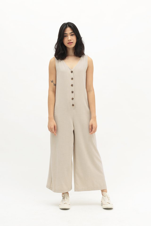 KAILANI BUTTON JUMPSUIT IN SAND